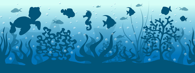Seamless underwater background with fish
