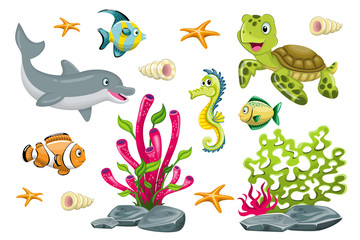 Set of cartoon marine animals