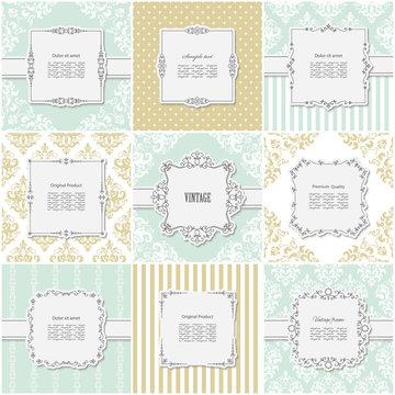 Elegant frame on pattern set in golden and blue trendy colors. Templates for wedding or scrapbook design.
