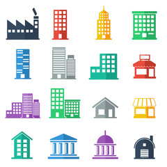 building icons .  building flat design.  vector illustration