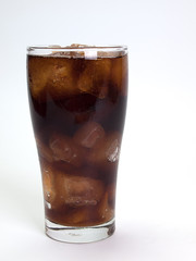 Cola with ice cubes ,
