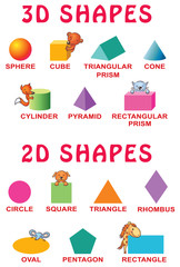 Basic 3d and 2d shapes with cartoon animals for preschoolers