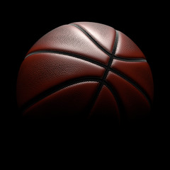 Basketball on black background. Clipping path.