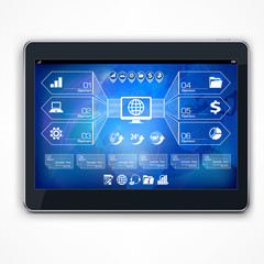 Infographic on blue tablet screen
