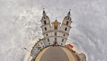 Fish-eye Bended Panorama of Holy-Spirit Cathedral in Minsk