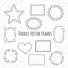 Set of doodle frames for design on grunge background