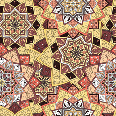 Seamless round pattern for printing on fabric or paper. Hand drawn background. Colored indian ornament. Vector illustration. Elements for your design.