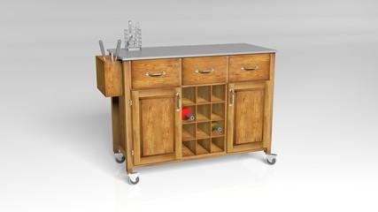 Kitchen wine cabinet isolated on white background