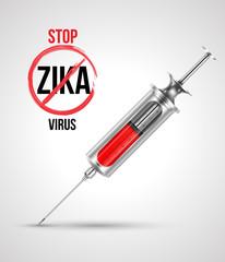 Syringe with stop ZIKA virus. Vector illustration.