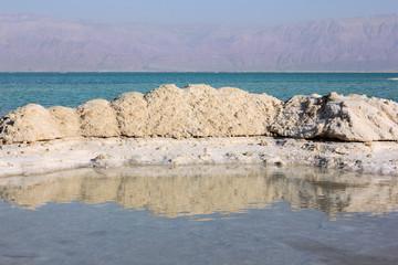 deposits of mineral salts, Dead Sea, Israel
