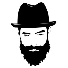 Vector portrait of serious bearded man wearing hat looking away.