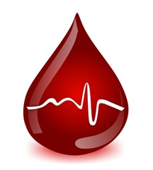 blood donation - medical blood drop with pulse