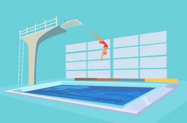 Sport pool. Vector flat cartoon illustration