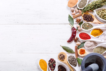 various herbs and spices for cooking