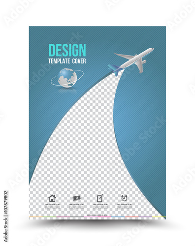 Quot Cover Page Layout Template With Paper Airplane Vector