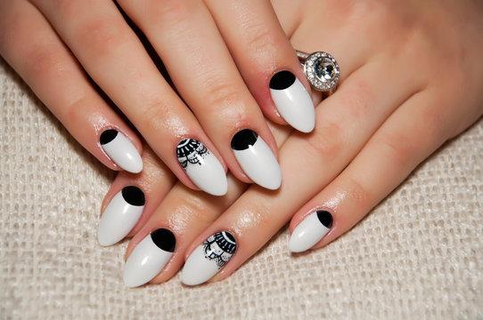 white black fishnet manicure