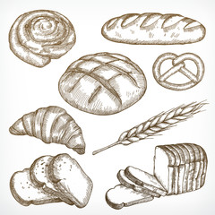 Bread sketches, hand drawing, vector set