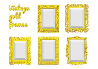 Set of vector golden vintage frame isolated on white background