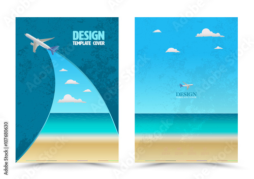 """Cover Page Layout Template With Airplane. Vector Illustration. Can Use For Travel Tour Concept"