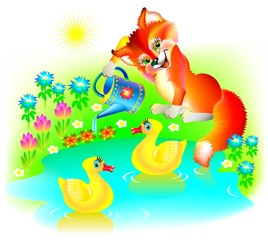 Illustration of little fox watering flowers, vector cartoon image.