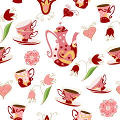 Seamless pattern in Doodle style with  teapot cups, flowers and hearts.