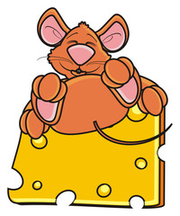 mouse, rat, rodent, pest, animal, isolated, toy, piece, cartoon, brown, pet, cheese, lying, dream, sllep, happy, funny