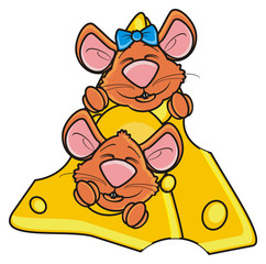 couple, she, he, girl, boy, mouse, rat, rodent, pest, animal, isolated, toy, piece, cartoon, brown, pet, cheese, peek up, bow, happy, smile
