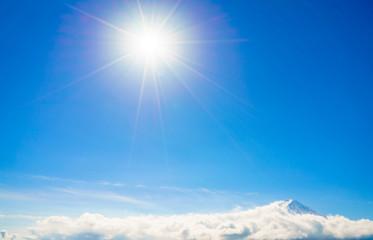 Mountain Fuji with blue sky and sun, Japan