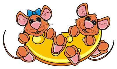 couple, she, he, girl, boy, mouse, rat, rodent, pest, animal, isolated, toy, piece, cartoon, brown, pet, cheese, near, sit, together, bow