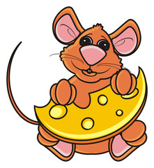 mouse, rat, rodent, pest, animal, isolated, toy, piece, cartoon, brown, pet, cheese,