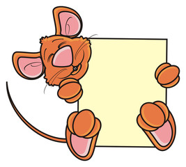plaque, banner, clean, transporant, demand, ask, empty, mouse, rat, rodent, pest, animal, isolated, toy, cartoon, brown, pet,