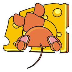 mouse, rat, rodent, pest, animal, isolated, toy, piece, cartoon, brown, pet, cheese, back, behind, climb, hide, sticking