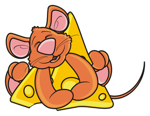 mouse, rat, rodent, pest, animal, isolated, toy, piece, cartoon, brown, pet, cheese, hold, happy, smile, eat, food