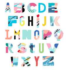 Vector Hand Drawn Artistic Alphabet .Typeface. Font. Isolated