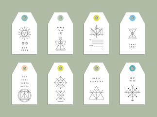 Collection of 8 Hang Tags. Trendy geometric patterns and colors.