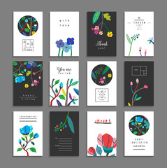 Collection of  cards with flowers. Beautiful freehand colorful invitations