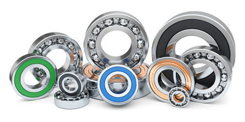 Group of industrial ball bearings in row.