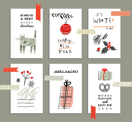 Merry Christmas and Happy New Year set with Washi Tape Strips.