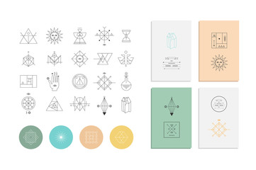 Set of geometric shapes. Trendy hipster retro backgrounds and logos