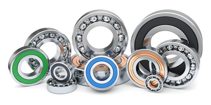 Group of industrial ball bearings in row.