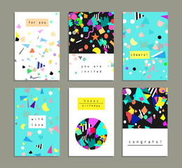 Collection of party cards and invitations. Birthday backgrounds