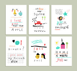 Collection of cute funny romantic cards.
