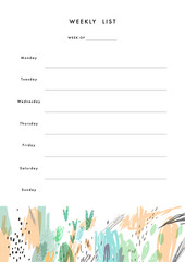 Weekly Planner Template. Organizer and Schedule with place for Notes
