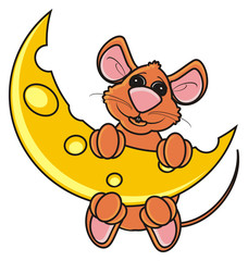mouse, rat, rodent, pest, animal, isolated, toy, piece, cartoon, brown, pet, cheese, moon, night, hang, climb