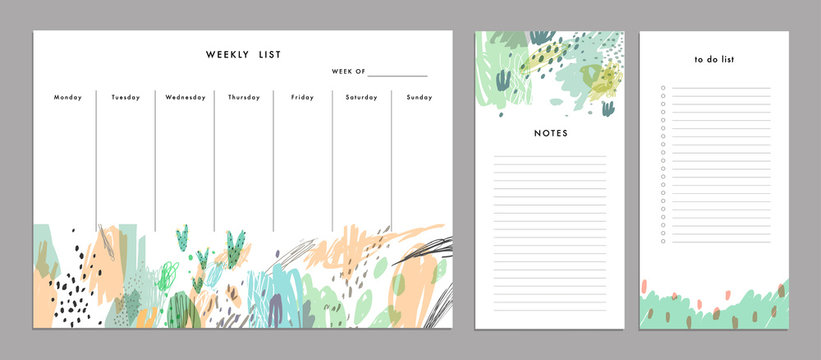 Weekly Planner Template. Organizer and Schedule with Notes and To Do list