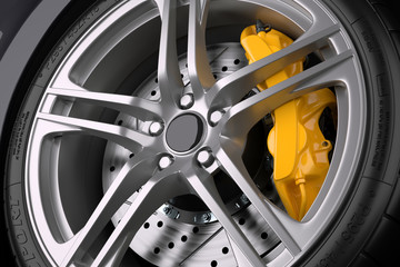 The brake system of a sport car.