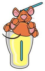 mouse, rat, rodent, pest, animal, isolated, toy, cartoon, brown, pet, lying, drink, glass, tube, thirst, water, dishes, cocktail