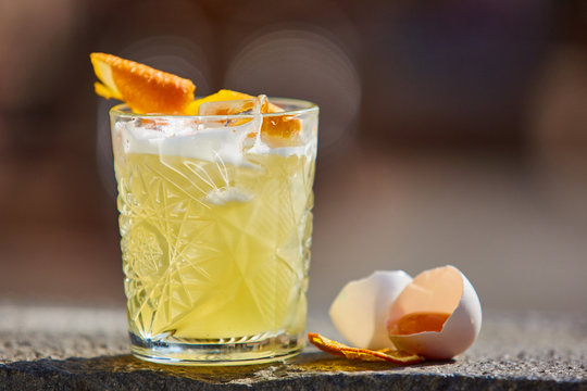 whiskey sour in the sunlight.