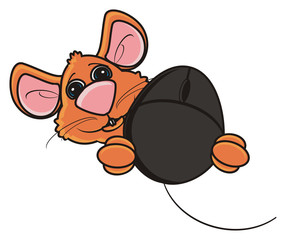 look out, hang around, head, face, muzzle, mouse, rat, rodent, pest, animal, isolated, toy, cartoon, brown, computer, computer, pad, internet, computer mouse, power cord, dial, button, oceanology