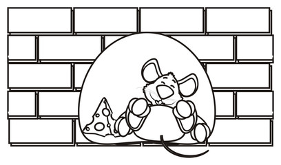 silhouette, line, coloring, mouse, rat, rodent, pest, animal, isolated, toy, piece, cartoon, pet, cheese, wall, brick, building, lying, dream, sleep